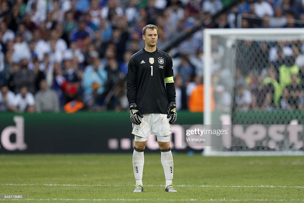 goalkeeper Manuel Neuer of Germany staying at midfield during the UEFA Euro 2016 round of 16 match between Germany and Slovakia on June 26, 2016 at the stade Pierre-Mauloy in Lille, France.
