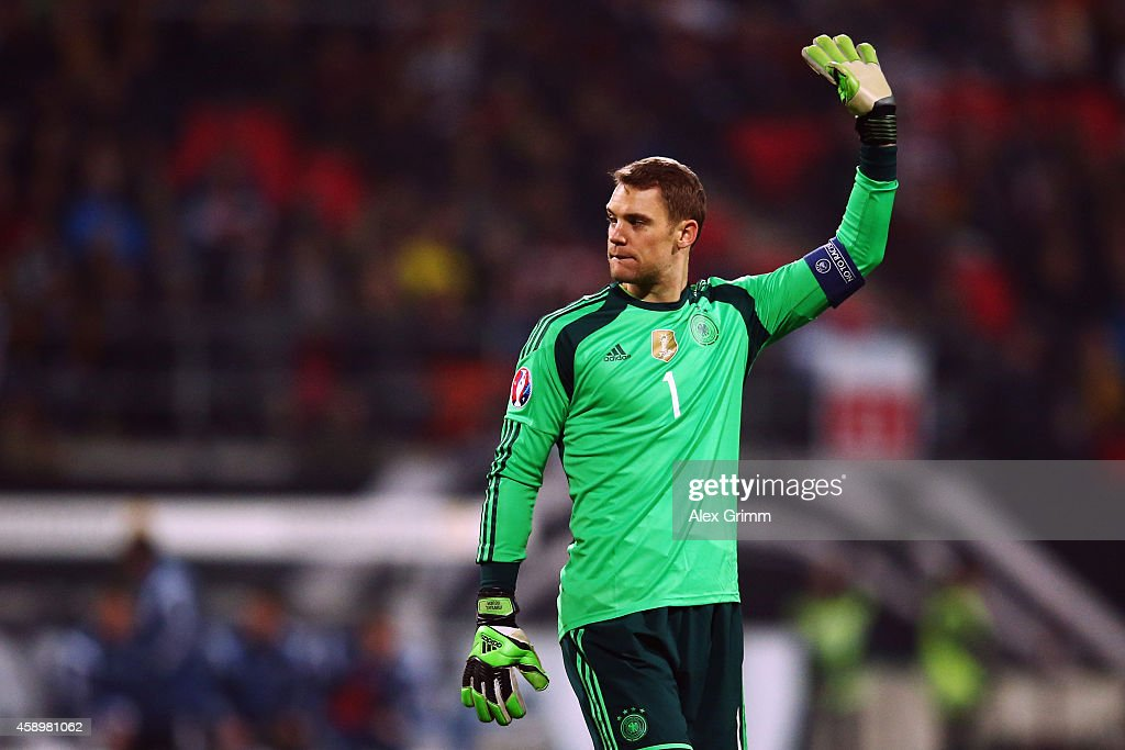 Goalkeeper <a gi-track='captionPersonalityLinkClicked' href=/galleries/search?phrase=Manuel+Neuer&family=editorial&specificpeople=764621 ng-click='$event.stopPropagation()'>Manuel Neuer</a> of Germany waves to the fans after the EURO 2016 Qualifier between Germany and Gibraltar and Grundig-Stadion on November 14, 2014 in Nuremberg, Germany.