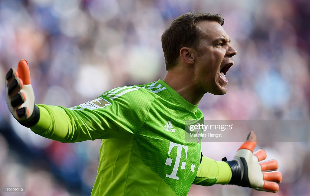 Goalkeeper <a gi-track='captionPersonalityLinkClicked' href=/galleries/search?phrase=Manuel+Neuer&family=editorial&specificpeople=764621 ng-click='$event.stopPropagation()'>Manuel Neuer</a> of Muenchen gestures during the Bundesliga match between 1899 Hoffenheim and FC Bayern Muenchen at Wirsol Rhein-Neckar-Arena on April 18, 2015 in Sinsheim, Germany.