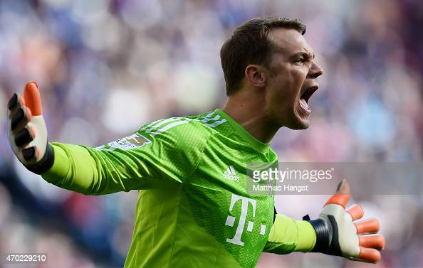 Goalkeeper Manuel Neuer of Muenchen gestures during the Bundesliga ...