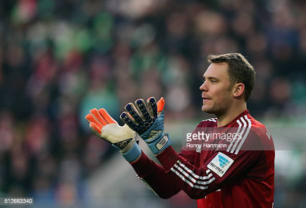 Goalkeeper Manuel Neuer of Muenchen gestures during the Bundesliga match between VfL Wolfsburg and FC Bayern Muenchen at Volkswagen Arena on February...