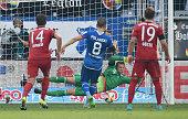 Goalkeeper Manuel Neuer of Muenchen saves a penalty of Eugen Polanski of Hoffenheim during the Bundesliga match between 1899 Hoffenheim and FC Bayern...
