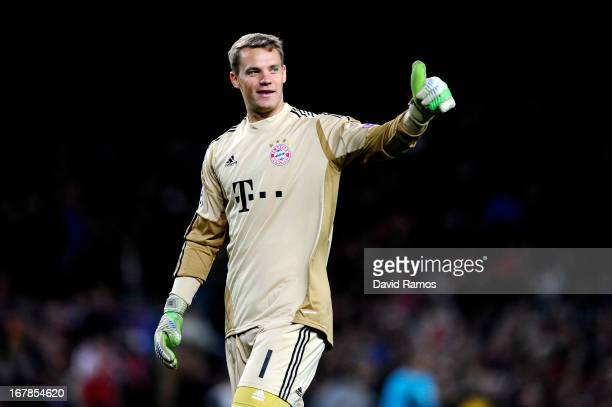 Goalkeeper Manuel Neuer of Munich celebrates during the UEFA Champions League semi final second leg match between Barcelona and FC Bayern Muenchen at...