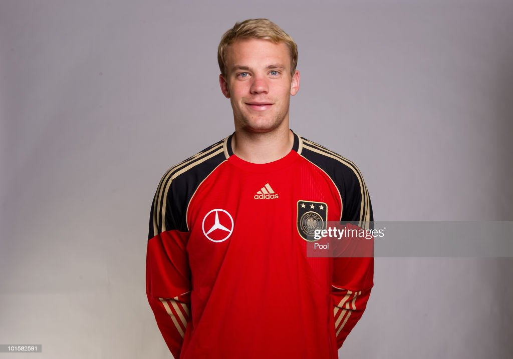 Goalkeeper <a gi-track='captionPersonalityLinkClicked' href=/galleries/search?phrase=Manuel+Neuer&family=editorial&specificpeople=764621 ng-click='$event.stopPropagation()'>Manuel Neuer</a> poses during the official team photocall of the German FIFA 2010 World Cup squad on June 3, 2010 in Frankfurt am Main, Germany.