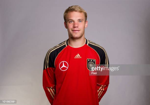 Goalkeeper Manuel Neuer poses during the official team photocall of the German FIFA 2010 World Cup squad on June 3 2010 in Frankfurt am Main Germany