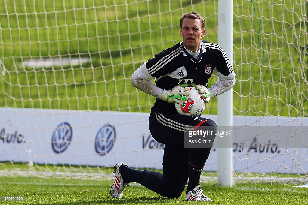 Goalkeeper Manuel Neuer reacts during a Bayern Muenchen training session at the ASPIRE Academy for Sports Excellence on January 8, 2013 in Doha, Qatar.