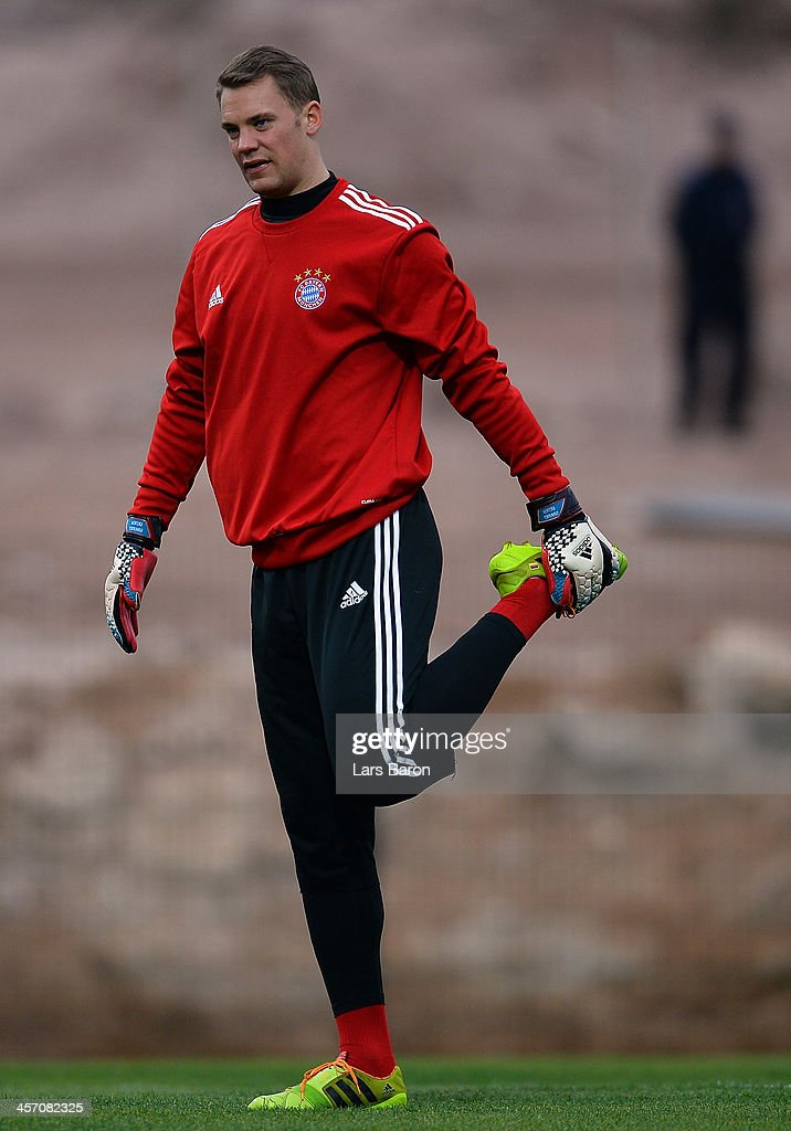 Goalkeeper Manuel Neuer warms up during a Bayern Muenchen training session for the FIFA Club World Cup next to Agadir Stadium on December 16, 2013 in Agadir, Morocco.