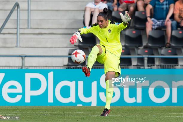 Goalkeeper Manuela Zinsberger of Austria controls the ball during the Group C match between Austria and Switzerland during the UEFA Women's Euro 2017...