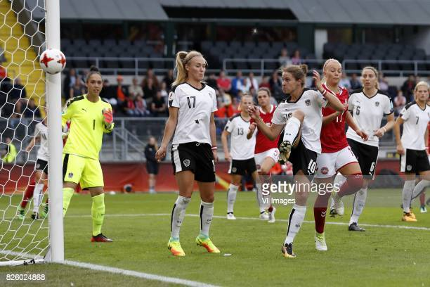 goalkeeper Manuela Zinsberger of Austria women Sarah Puntigam of Austria women Virginia Kirchberger of Austria women Simone Boye Sorensen of Denmark...