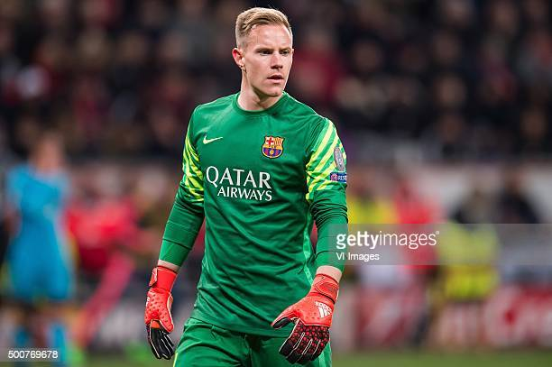 goalkeeper MarcAndre Ter Stegen of FC Barcelona during the UEFA Champions League match between Bayer 04 Leverkusen and FC Barcelona on December 9...