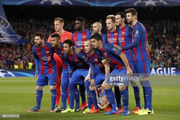 goalkeeper MarcAndre ter Stegen of FC Barcelona Samuel Umtiti of FC Barcelona Javier Mascherano of FC Barcelona Ivan Rakitic of FC Barcelona Sergio...