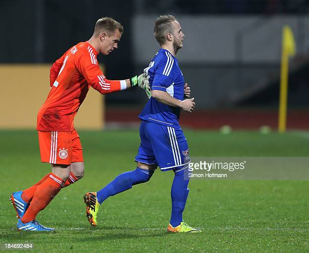 Goalkeeper MarcAndre ter Stegen of Germany enforces Sormundur Kalso of Faroe Islands to leave the pitch during the 2015 UEFA European U21...