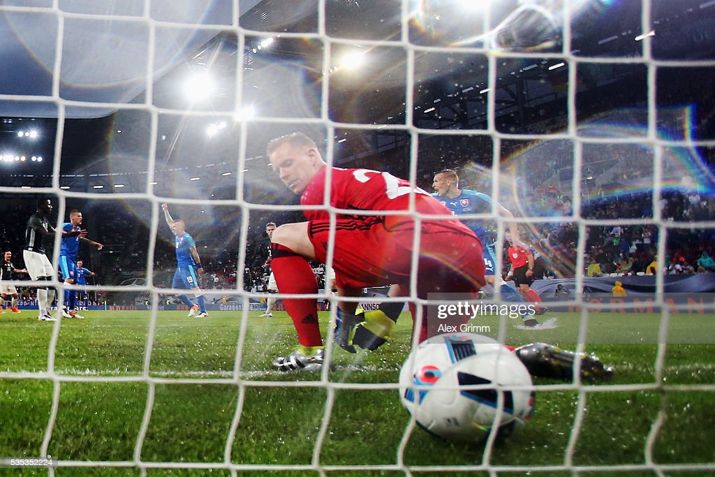 Goalkeeper Marc-Andre ter Stegen of Germany lets in a header from Juray Kucka of Slovakia during the international friendly match between Germany and Slovakia at WWK-Arena on May 29, 2016 in Augsburg, Germany.