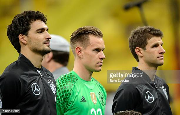 Goalkeeper MarcAndre ter Stegen of Germany looks on prior to the International Friendly match between Germany and Italy at Allianz Arena on March 29...