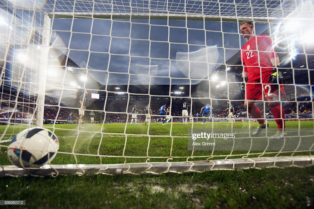 Goalkeeper Marc-Andre ter Stegen of Germany reacts after leting in a header from Juray Kucka of Slovakia during the international friendly match between Germany and Slovakia at WWK-Arena on May 29, 2016 in Augsburg, Germany.