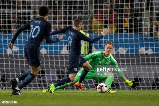 Goalkeeper MarcAndre ter Stegen of Germany saves a ball of Jamie Vardy of England during the international friendly match between Germany and England...