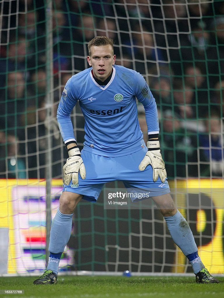 goalkeeper Marco Bizot of FC Groningen during the Dutch Eredivisie match between FC Groningen and NAC Breda at the Euroborg on march 08, 2013 in Groningen, The Netherlands