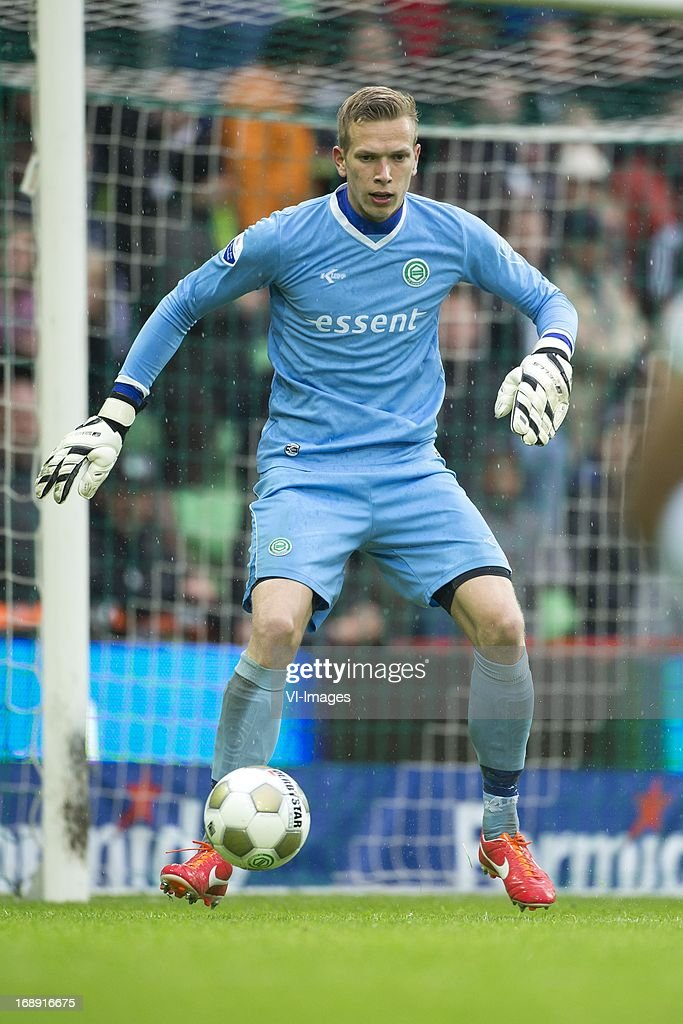 Goalkeeper Marco Bizot of FC Groningen during the Eredivisie Europa League Playoff match between FC Groningen and FC Twente on May 16, 2013 at the Euroborg stadium at Groningen, The Netherlands.