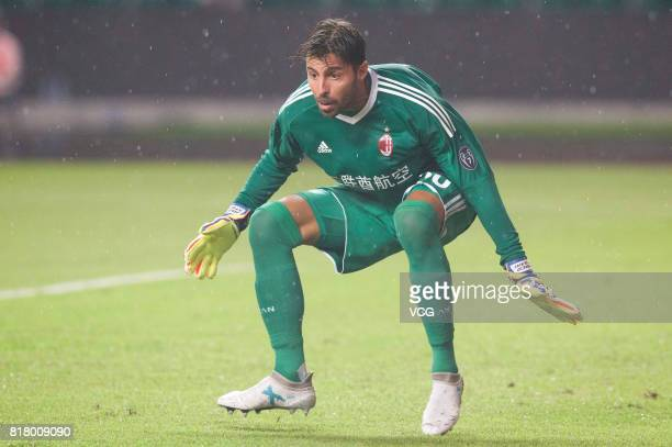 Goalkeeper Marco Storari of AC Milan in action during the 2017 International Champions Cup China between AC Milan and Borussia Dortmund at University...
