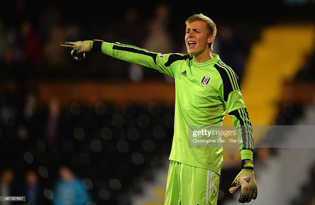 Goalkeeper Marek Rodak of Fulham U18 in action during the FA Youth Cup Final First Leg match between Fulham U18 and Chelsea U18 at Craven Cottage on April 28, 2014 in London, England.