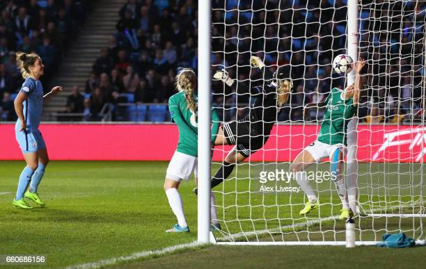 Goalkeeper Maria Christensen of Fortuna fails to stop the ball from hitting the back of the net a goal by Lucia Bronze of Manchester City during the...