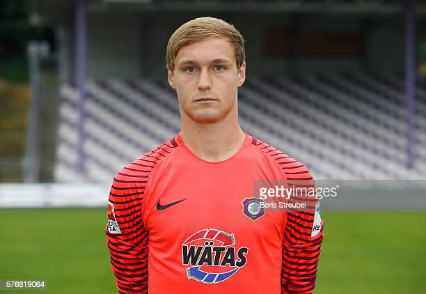 Goalkeeper Mario Seidel of Erzgebirge Aue poses during the FC Erzgebirge Aue Team Presentation at Sparkassenerzgebirgsstadion on July 17 2016 in Aue...