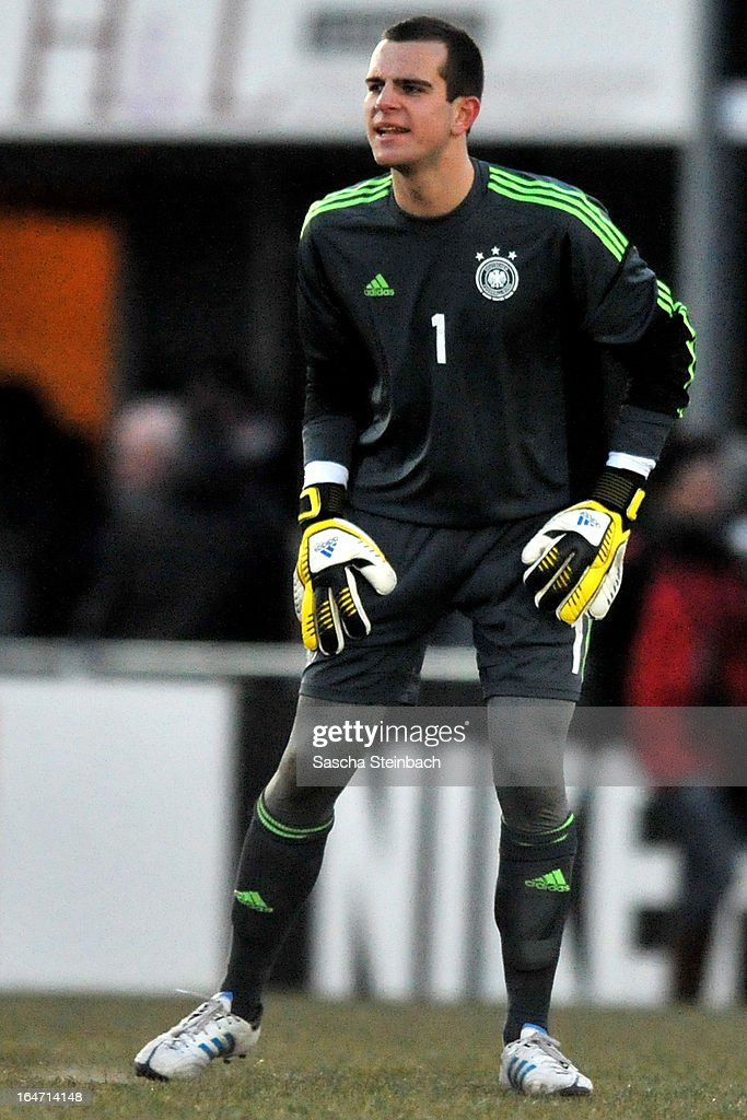 Goalkeeper Marius Gersbeck of Germany reacts during the U18 International Friendly match between The Netherlands and Germany on March 26, 2013 in Vriezenveen, Netherlands.