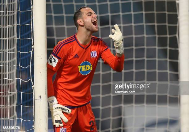 Goalkeeper Marius Gersbeck of Osnabrueck gestures during the third league match between FC Hansa Rostock and VfL Osnabrueck at Ostseestadion on...