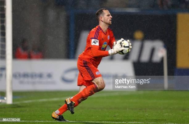 Goalkeeper Marius Gersbeck of Osnabrueck runs with the ball during the third league match between FC Hansa Rostock and VfL Osnabrueck at...