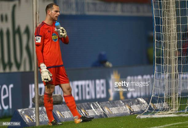 Goalkeeper Marius Gersbeck of Osnabrueck shows his Frustration after loosing the third league match between FC Hansa Rostock and VfL Osnabrueck at...
