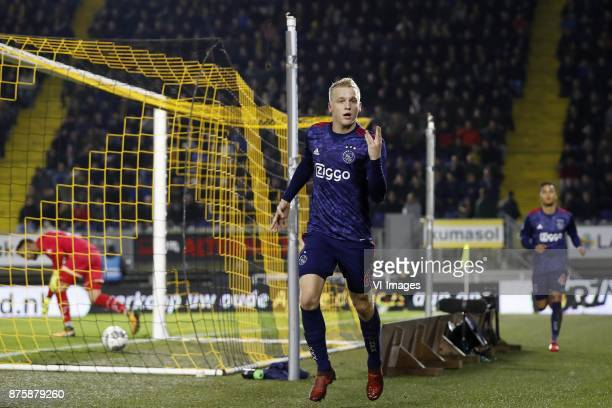 goalkeeper Mark Birighitti of NAC Breda Donny van de Beek of Ajax Justin Kluivert of Ajax during the Dutch Eredivisie match between NAC Breda and...