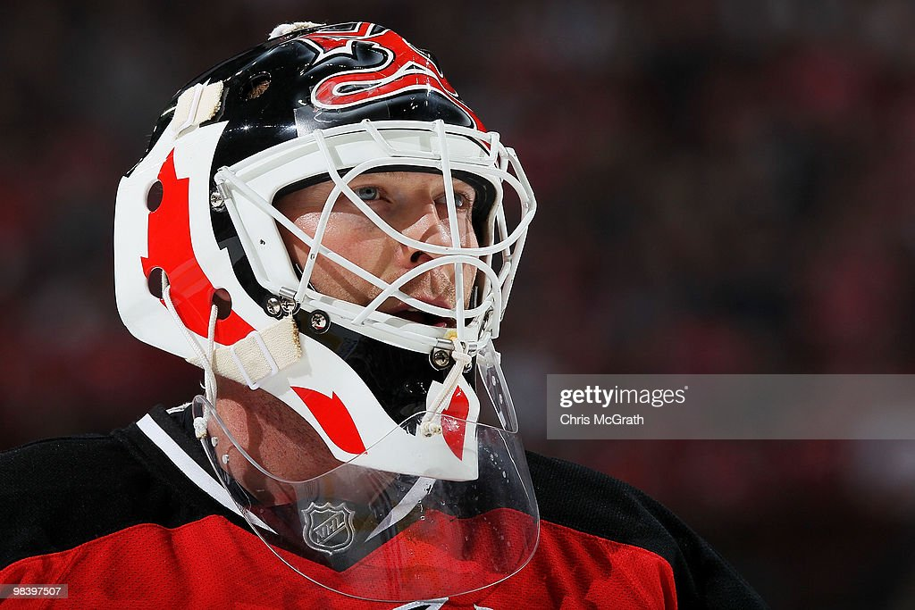 Goalkeeper Martin Brodeur of the New Jersey Devils looks on against the Buffalo Sabres at the Prudential Center on April 11 2010 in Newark New Jersey
