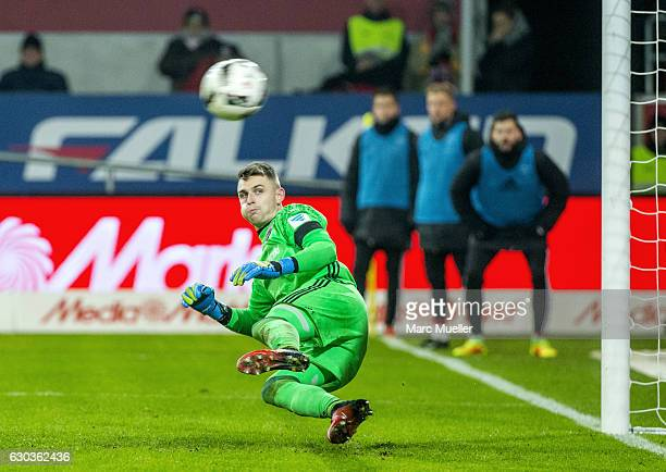 Goalkeeper Martin Hansen of FC Ingolstadt 04 fails to save the ball during the Bundesliga match between FC Ingolstadt 04 and SC Freiburg at Audi...