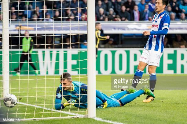 goalkeeper Martin Hansen of sc Heerenveen Yuki Kobayashi of sc Heerenveen 03 during the Dutch Eredivisie match between sc Heerenveen and Vitesse...