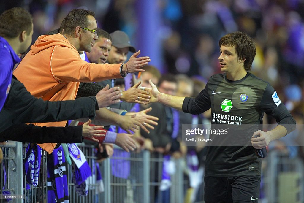 Goalkeeper Martin Maennel of Aue celebrates with fans after the Second Bundesliga match between Erzgebirge Aue and 1. FC Kaiserslautern at Erzgebirgs Stadium on April 15, 2013 in Aue, Germany.
