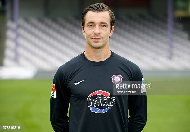 Goalkeeper Martin Maennel of Erzgebirge Aue poses during the FC Erzgebirge Aue Team Presentation at Sparkassenerzgebirgsstadion on July 17 2016 in...