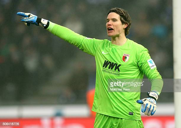 Goalkeeper Marvin Hitz of Augsburg gestures during the Bundesliga match between Hertha BSC and FC Augsburg at Olympiastadion on January 23 2016 in...