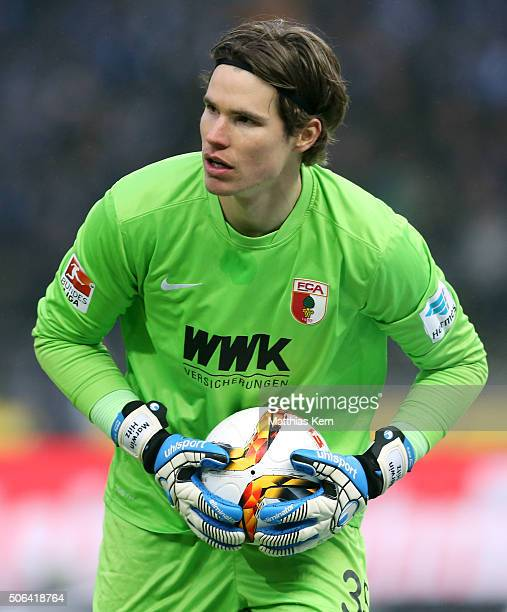 Goalkeeper Marvin Hitz of Augsburg looks on during the Bundesliga match between Hertha BSC and FC Augsburg at Olympiastadion on January 23 2016 in...
