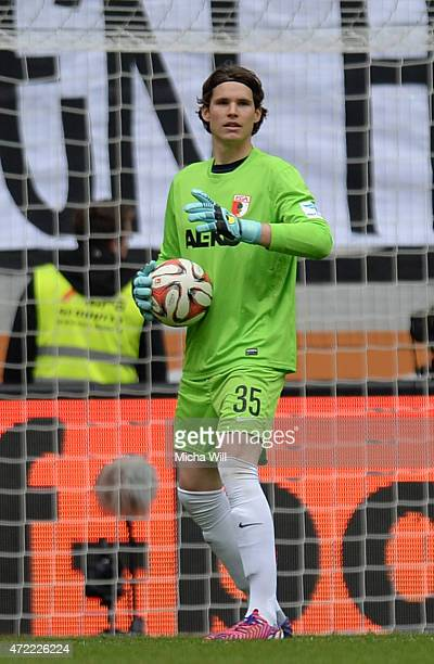 Goalkeeper Marwin Hitz of Augsburg controls the ball during the Bundesliga match between FC Augsburg and 1 FC Koeln at SGL Arena on May 2 2015 in...