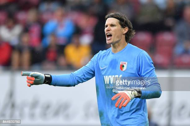 Goalkeeper Marwin Hitz of Augsburg gestures during the Bundesliga match between FC Augsburg and 1 FC Koeln at WWKArena on September 9 2017 in...