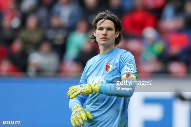 Goalkeeper Marwin Hitz of Augsburg looks on during the Bundesliga match between FC Augsburg and SC Freiburg at WWK Arena on March 18 2017 in Augsburg...