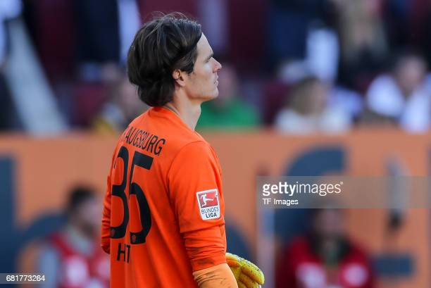 Goalkeeper Marwin Hitz of Augsburg looks on during the Bundesliga match between FC Augsburg and Hamburger SV at WWK Arena on April 30 2017 in...
