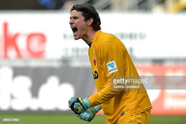 Goalkeeper Marwin Hitz of Augsburg reacts during the Bundesliga match between SC Paderborn 07 and FC Augsburg at Benteler Arena on April 11 2015 in...