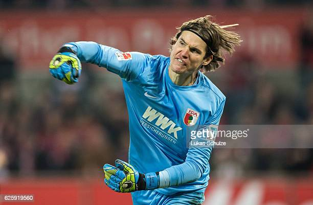 Goalkeeper Marwin Hitz of Augsburg reacts during the Bundesliga match between 1 FC Koeln and FC Augsburg at RheinEnergieStadion on November 26 2016...