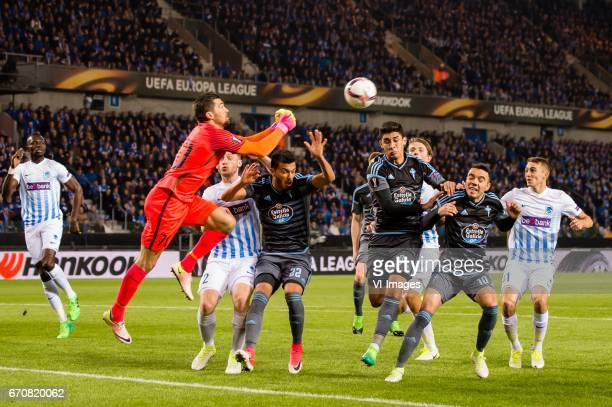 goalkeeper Mathew Ryan of KRC Genk savesduring the UEFA Europa League quarter final match between KRC Genk and Celta de Vigo on April 20 2017 at the...
