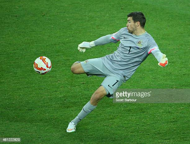 Goalkeeper Mathew Ryan of the Socceroos kicks the ball during the 2015 Asian Cup match between the Australian Socceroos and Kuwait at AAMI Park on...