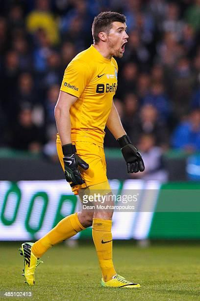 Goalkeeper Matthew Ryan of Club Brugge in action during the Jupiler League match between Club Brugge v Racing Genk at the Jan Breydel Stadium on...