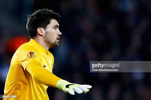 Goalkeeper Maty Ryan of Club Brugge signals to a team mate during the UEFA Europa League Round of 16 1st leg match between Club Brugge KV and...