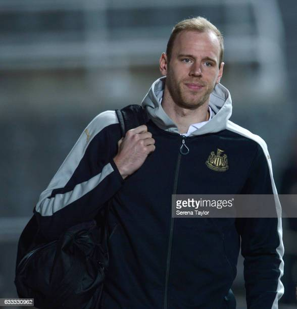 Goalkeeper Matz Sels arrives prior to kick off of the Sky Bet Championship match between Newcastle United and Queens Park Rangers at StJames' Park on...