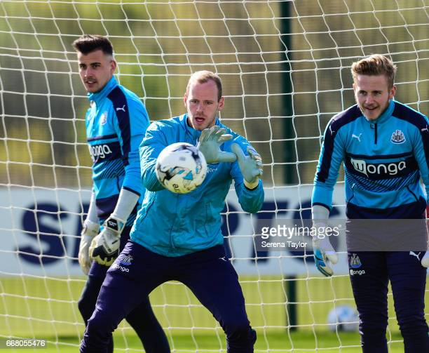 Goalkeeper Matz Sels catches the ball during the Newcastle United Training Session at The Newcastle United Training Centre on April 13 2017 in...